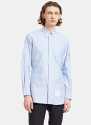 Thom Browne Anchor Embroidered Oxford Shirt Blue