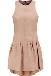 Muubaa Vela Pleated Leather Mini Dress Nude
