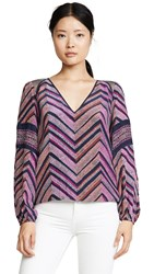 Ramy Brook Printed Cal Blouse Pink Berry Combo