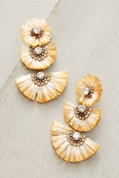 Anthropologie Raffia Palm Drop Earrings Neutral