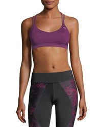 Puma Training Yogini Lux Strappy Graphic Sports Bra Purple Pattern