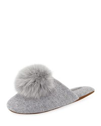 Minnie Rose Cashmere Fur Pompom Slipper Silver Grey