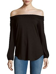 Red Haute Solid Off The Shoulder Long Sleeve Top Black