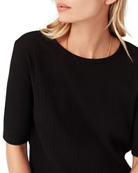 3X1 Sasha Crewneck Short Sleeve Knit Top Black