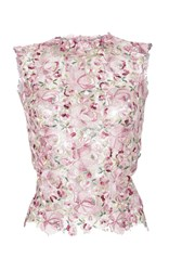 Luisa Beccaria Tulle Flowers Embroidered Top Pink