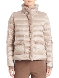 Max Mara Ape Rabbit Fur Trim Down Puffer Jacket Sand
