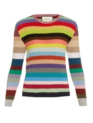 Gucci Rainbow Striped Cashmere And Wool Blend Sweater