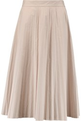Joseph Pleated Cotton Poplin Midi Skirt Pastel Pink