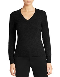 Lord And Taylor Cashmere V Neck Sweater Charcoal Heather