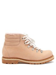 Montelliana Marlena Shearling And Nubuck Hiking Boots Light Pink