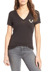 True Religion Women's Vintage Buddha V Neck Tee