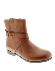 Birkenstock Collins Leather Side Zip Ankle Boots Brown