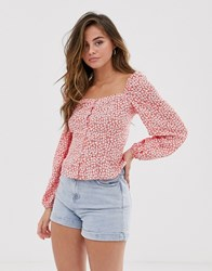 New Look Square Neck Ditsy Top In Red Pattern