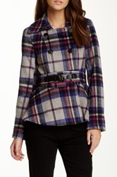 Lavand Long Sleeve Plaid Belted Flare Jacket Gray