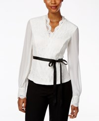 Alex Evenings Long Sleeve Belted Lace Blouse White