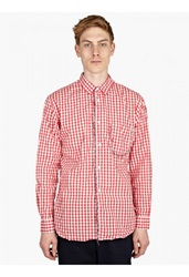 Comme Des Garcons Men's Fancy Glass Bead Fringe Check Shirt