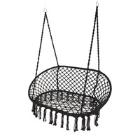 Amara Outdoor Hanging 2 Seat Chair With Fringing Black