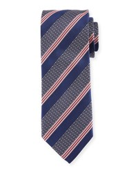 Eton Wide Broken Stripe Silk Tie Blue