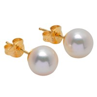 A B Davis 18Ct Yellow Gold Cultured Large White Pearl Stud Earrings