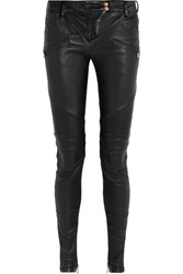 Balmain Moto Style Leather Skinny Pants Black