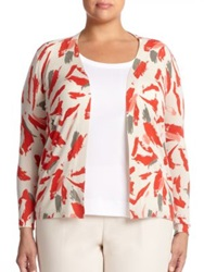 Lafayette 148 New York Plus Size Cashmere And Silk Printed Cardigan Bonfire Multi