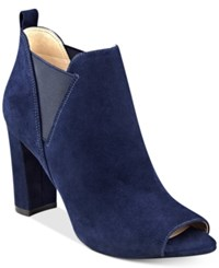Marc Fisher Sayla Block Heel Peep Toe Booties Women's Shoes Blue Suede