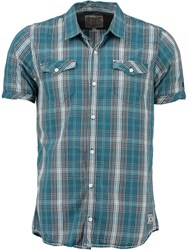 Garcia Check Print Cotton Shirt Short Sleeves Green