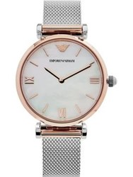 Emporio Armani Gianni T Bar 32Mm Mother Of Pearl Dial Mixed Metal Mesh Strap Watch Silver Rose Gold