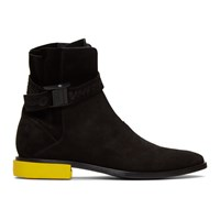 Off White Black Suede Jodhpur Boots