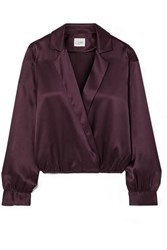 Cami Nyc The Kendall Wrap Effect Silk Charmeuse Blouse Grape