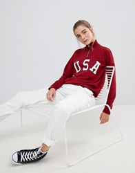 Daisy Street Relaxed Sweatshirt With Half Zip And Usa Print Red