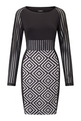 James Lakeland Geometric Long Sleeve Dress Black