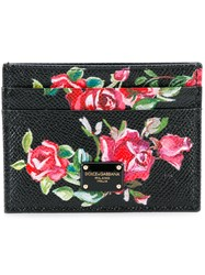 Dolce And Gabbana Rose Print Card Holder Women Leather One Size Black