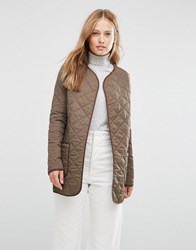 Cooper And Stollbrand Quilted Bomber Jacket In Khaki Khaki Green