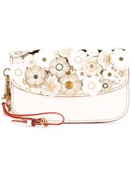 Coach Flower Embellished Clutch Bag White