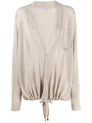 Brunello Cucinelli Oversized Drawstring Cardigan Neutrals