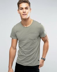 Casual Friday T Shirt In Stripe With Pocket Sprout Green
