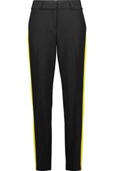 Milly Striped Crepe Tapered Pants Black