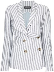 Anna October Striped Double Breasted Blazer Blue