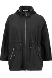 Michael Kors Collection Crinkled Cotton Blend Hooded Jacket Black