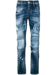 Frankie Morello Coven Distressed Skinny Jeans Blue