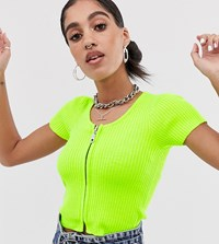 The Ragged Priest Zip Front Knitted Crop Top In Rib Green