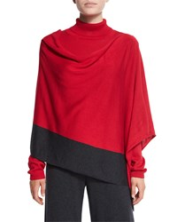 Silk Cashmere Contrast Trim Poncho Women's Crimson Grey Joan Vass Crimson Charcoal