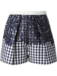 Msgm Lace Panel Gingham Shorts Blue