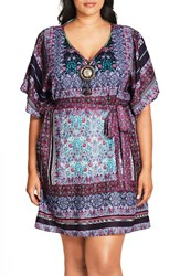 City Chic Plus Size Women's 'Moroccan Affair' Embellished Print Tunic Paisley Tile