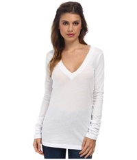 Lna 007 L S Deep V Neck White Women's Long Sleeve Pullover
