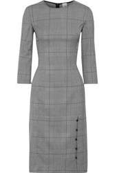 Iris And Ink Woman Una Button Detailed Prince Of Wales Checked Jacquard Dress Dark Gray