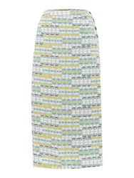 Lily And Me Linen Midi Skirt With Geometric Print Multi Coloured Multi Coloured