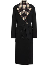 Burberry Check Lined Wool Cashmere Double Breasted Coat Black
