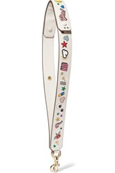 Anya Hindmarch All Over Wink Stickers Embossed Leather Bag Strap White